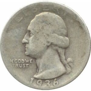 AMERIQUE ( U.S.A ) QUARTER DOLLAR (1/4 DOLLAR) 1936 WASHINGTON QUARTER B