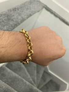 12mm Chunky 18ct Gold gf Diamond Cut Pattern Belcher Bracelet Men Boys