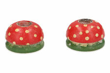 A small pair of retro wooden toadstool candlesticks Hand painted