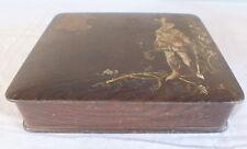 boite coffret laque faux bois décor chevalier et blason