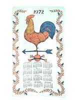"VINTAGE LUTHER TRAINS 1972 Linen Rooster Calendar Dish Tea Towel 26"" x 15"""