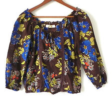 Hollister Top 3/4 Sleeve 100% Cotton Multi-Color Floral Size XS