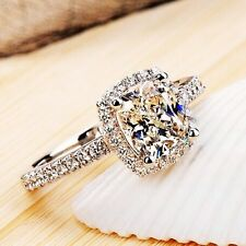 Super Gift Women's CZ Engagement Band White Gold Filled Wedding Ring Size 5-9