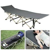 Portable Single Folding Bed with Mattress Camping Camp Travel Guest Kid Child UK