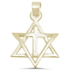 Star david cross ebay yellow gold plated star of david with cross 925 sterling silver pendant aloadofball