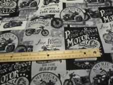Black/White/Gray Blocked Motorcycle Cotton Fabric By The Yard