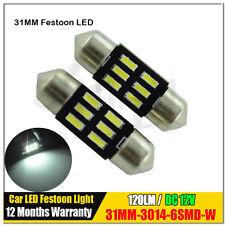 2 x Car 31mm 12V LED Festoon Interior White Light Bulb 4014 6SMD Auto Dome Globe