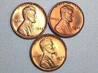 LOT ORIGINAL 1948-P 1948-D 1948-S CH/GEM RED BU LINCOLN WHEAT CENT YEAR SET#%30
