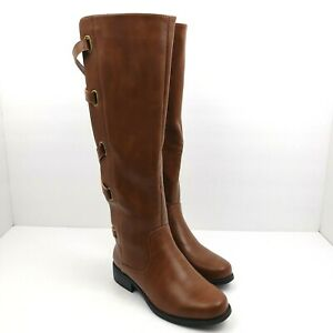 Womens Size 6 Brown Strappy 17 Inch Zip Buckle Fashion Knee High Boots