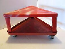 "Vintage Mechanic Creeper Red Triangle Metal Seat Stool Castor Shelf  garage 18""W"