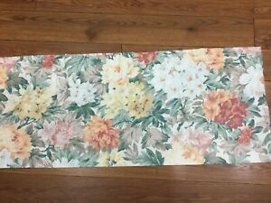 """CROSCILL VALANCE FLORAL GOLD GREEN TERRA COTTA TAN 87"""" X 17"""" FRENCH COUNTRY"""