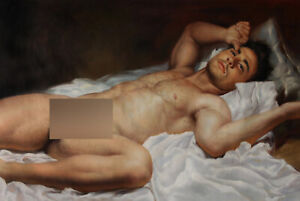 Art prints canvas transfer from oil painting male nude portrait lying men 24x36""