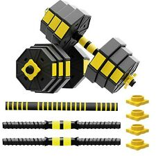 Totall 44 LB Weight Dumbbell Set Adjustable Cap Gym Barbell Plates Body Workout