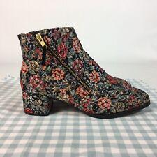Red Or Dead Black Floral Ankle Boots EU 41 UK 8 Tapestry Patsy Parker Heels