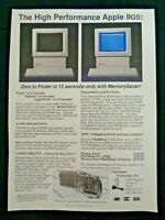 1980's Vintage Apple IIgs II Computer Tech Print Ad Memory Saver ProDOS Power