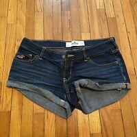 Hollister Low Rise Short Short Cuffed Denim Blue Jean shorts size 1 25