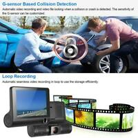 "4"" HD 1080P Dual Lens Rearview Car DVR Camera Video Recorder Dash Cam G-Sensor#"