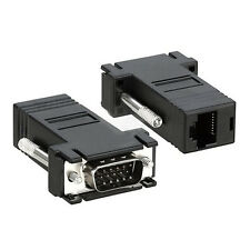 2 Black VGA Male to CAT5/CAT6/RJ45 Extender Adapters Cable TP