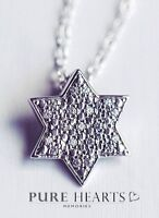 "925 Sterling Silver Star Necklace with sparkling CZ's on 18"" Inch Chain FREE P&P"
