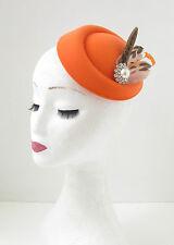 Orange Brown Silver Pheasant Feather Pillbox Hat Fascinator Vintage Races 40s 26