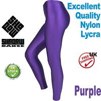 Purple Footless Dance Leggings Girls Shiny Lycra leotards ballet children (CC)