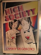 Original Vintage French Aperitif Poster High Society On Linen