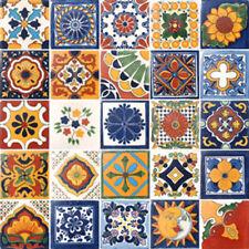 25 TILES 4x4 MEXICAN TILES CERAMIC HANDMADE TALAVERA SET #070