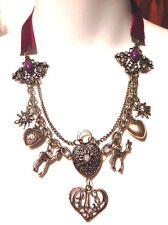 BURGUNDY VELVET NECKLACE brass deer charm hearts retro rhinestones bib K4