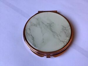 ROSE GOLD COLOURED FAUX MARBLE EFFECT COMPACT DOUBLE MIRROR