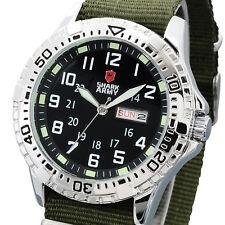 SHARK ARMY Men's Stainless Steel Green Strap Date Military Quartz Sport Watch