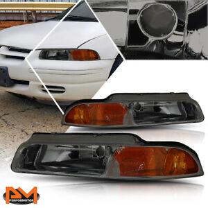 For 95-00 Chrysler Cirrus/Dodge Stratus Headlight/Lamp Smoked Housing Amber Side