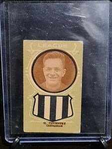 1933 'Giant' Licorice Larks VFL football card G.Coventry Collingwood Magpies