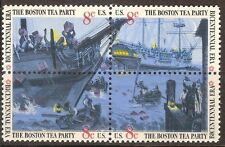 US 1973 The Boston Tea Party - Block of 4 MNH