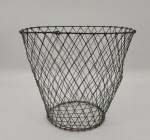Antique Vintage Wire Work Waste Paper Basket Bin Sturdy Strong Industrial Look