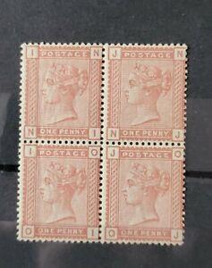 GB QUEEN VICTORIA SG 166 1D VENETIAN RED BLOCK OF 4 U/MINT