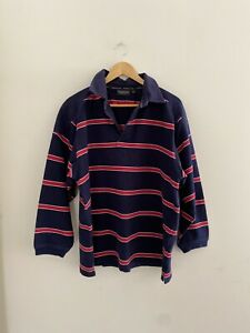 Thomas Cook L Cotton Long Sleeve Rugby Navy And Red Stripe Jumper