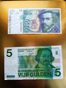 Lotto 2 banconote Spagna e Olanda