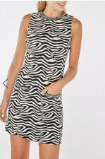 CL19# Dorothy Perkins Womens Zebra Print Trimmed Shift Dress Uk 10