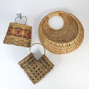 Lot of 3 Vintage basket wall pockets