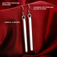 Women Fashion Jewelry 925 Sterling Silver Plated Bar Hook Dangle Drop Earrings