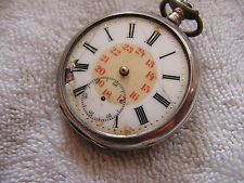 Antique Vintage Pocket Watch .800 Silver Sace Cylindre 10 Rubis