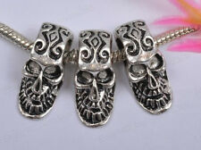 10Pcs Tibetan Silver Skull Charms Spacer Bead Bracelet Jewelry Making 23MM BE879