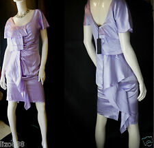 £1780 Versace runway liquid silk ruffle gown dress in lilac Size IT 42