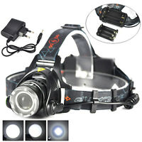 Zoomable 8000LM XM-L T6 LED Rechargeable Headlight 18650 AA Headlamp Head Torch