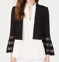 Calvin Klein Women's Jacket Black Size Large L Illusion Stripe Sleeve $59 #338