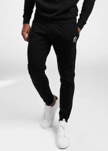 Gym King Mens Black Jersey Loungewear Jogger Slim Designer Jogging Bottoms