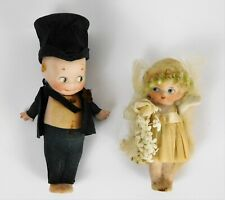 1913 Rose O'Neil German Bisque Jointed KEWPIE DOLL GROOM & Bride Crepe Costumes