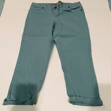 Nine West Vintage America Jeans Green Teal Cropped Sz 12 Mid Rise Ankle