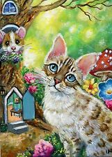 Aceo Original Snow Bengal Cat Mouse House Forest Miniature Painting by IM