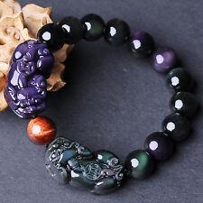 18MM Natural Rainbow Obsidian Dual Pixiu Stretch Bracelet Dragon bangle jewelry